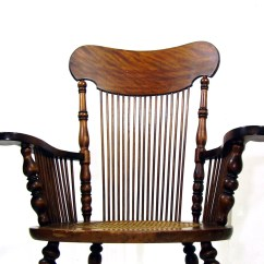 Vintage Rocking Chairs Beach Chair Canopy Attachment Antique Tiger Oak Wooden Rocker Cane Seat