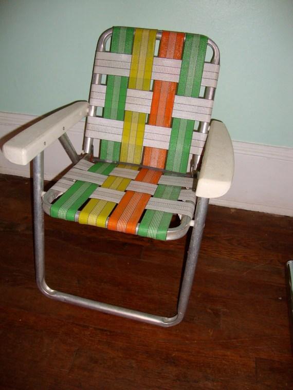 Vintage Aluminum Folding Childs Size Lawn Chair Kids