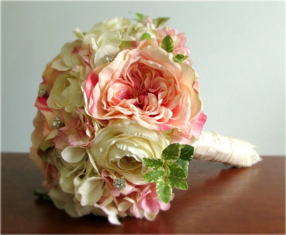 Cream Ivory & Blush Pink Silk Flower Wedding Bouquet And