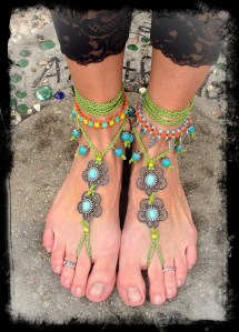 Hippie Dancer Barefoot Sandals Wanderlust Anklets Crochet