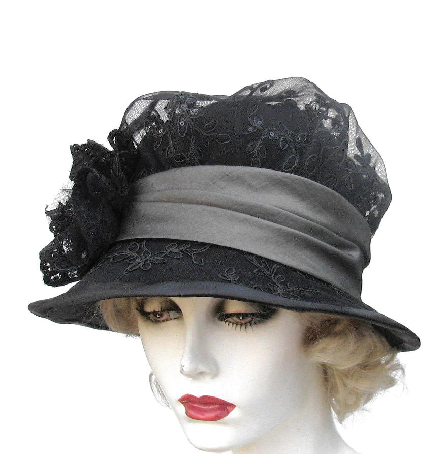Womens Hat Vintage Style Edwardian Victorian Mourning