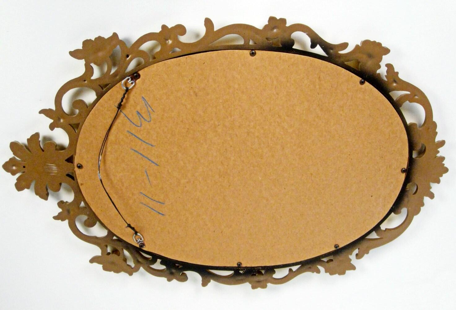 vintage Baroque roses large gold oval framed mirror