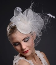 bridal hair fascinator white
