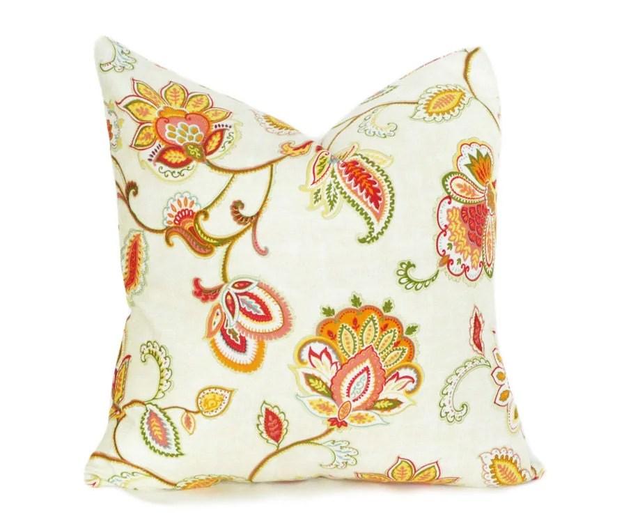 Jacobean Floral Pillow Decorative Throw Pillow by