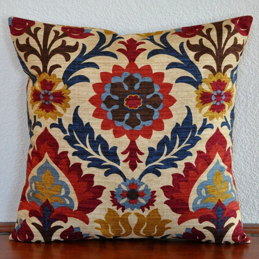 Decorative Damask Pillow Cover 20x20 Red Blue Gold Natural