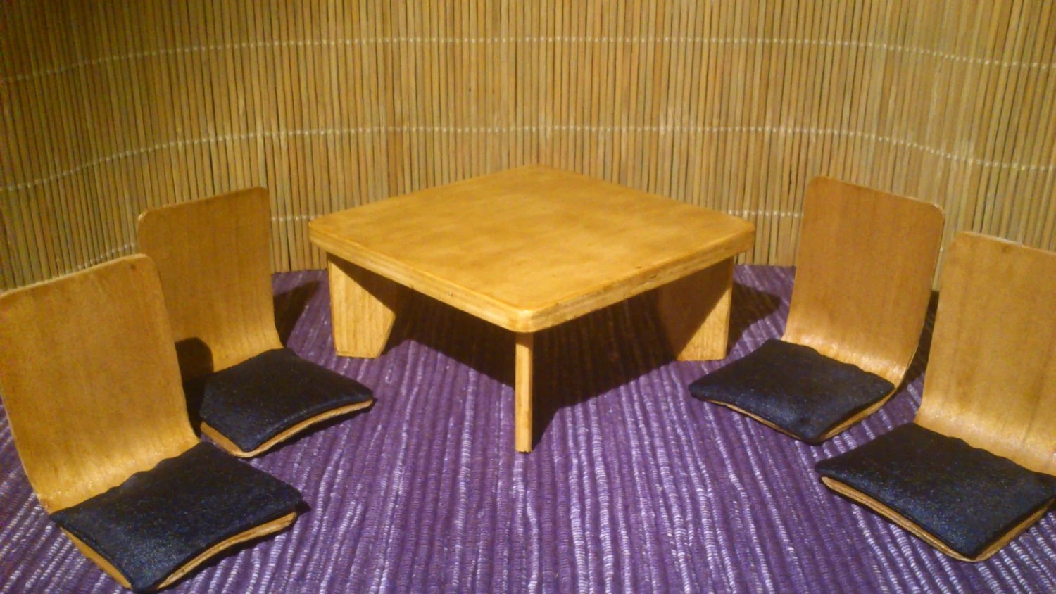 japanese table and chairs pink adirondack miniature low 4 in 1 12 scale