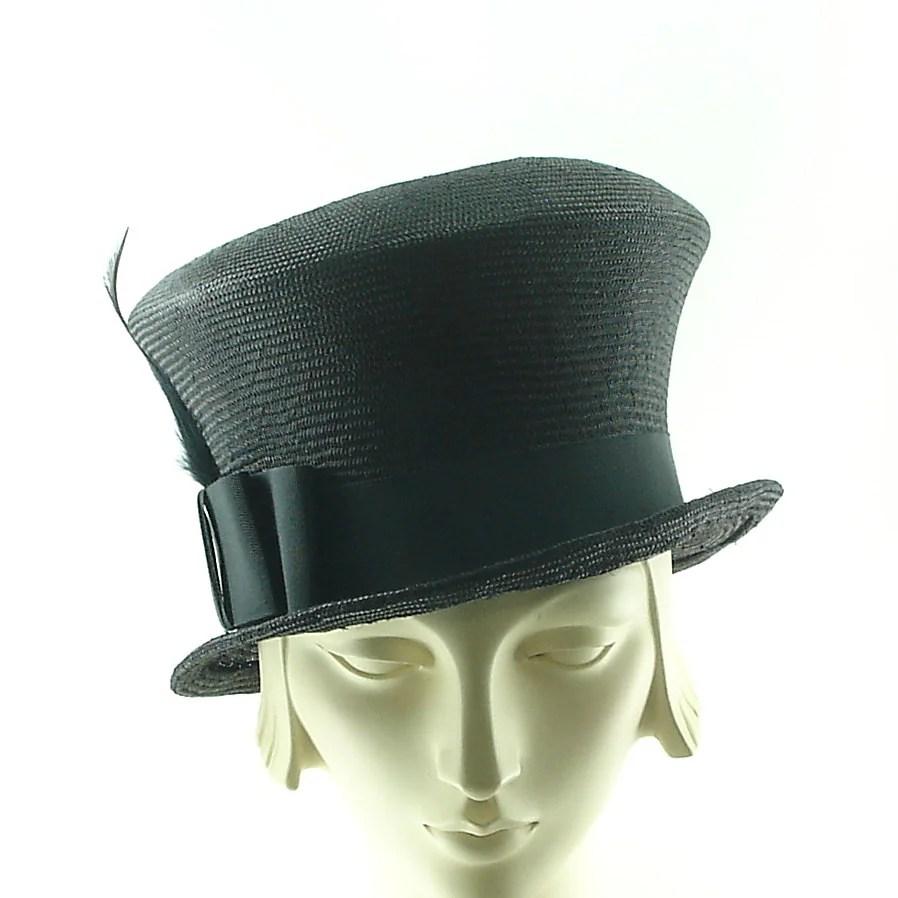 Black Straw Top Hat Mad Hatter Hat Reserved
