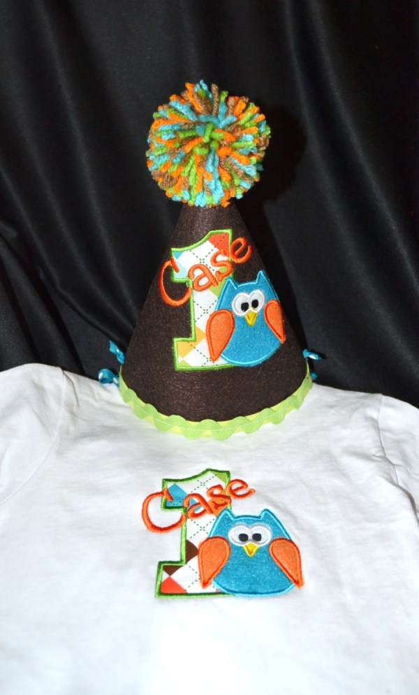 Owl Boy 1st Birthday Hat And Shirt Combo Set