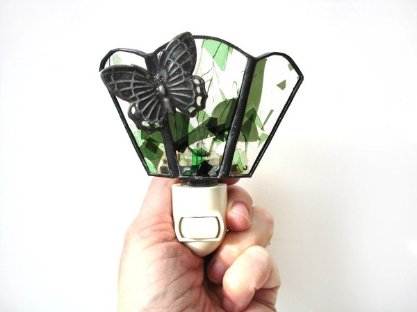 Butterfly Night Light Stained Glass Home Decor