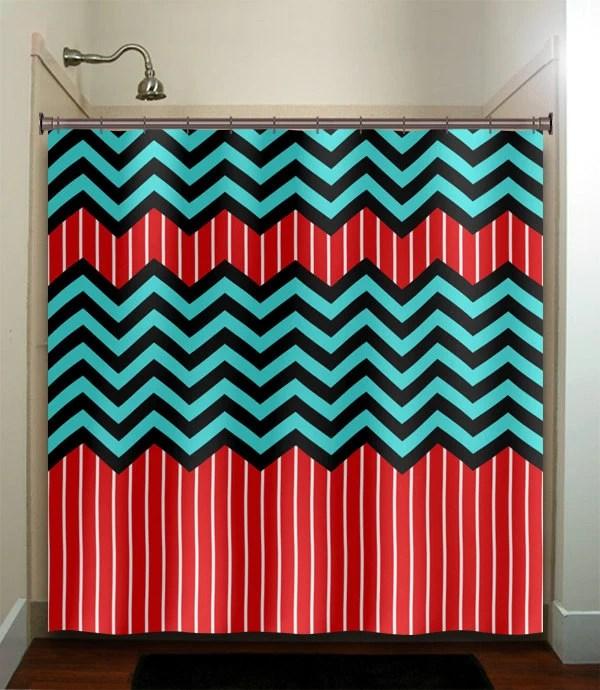 red stripe aqua blue chevron Bath Mat rug bathroom decor fabric kids bath white  eBay