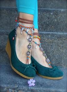 Festival Barefoot Bohemian Wedding Sandals Crochet Anklets