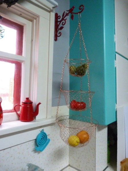 hanging kitchen basket Vintage 3 Tier Wire Hanging Kitchen Basket Copper Color