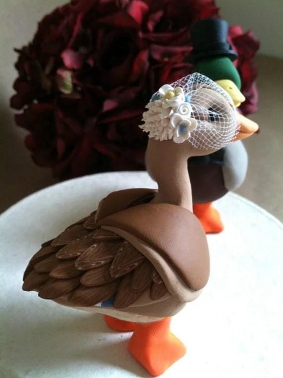 custom Mallard Duck wedding cake topper