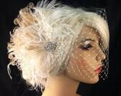 Wedding Hair Fascinator, Wedding Fascinator, Feather Fascinator, Wedding Veil, Diamante Crystal Rhinestone Brooch, Vintage Bride