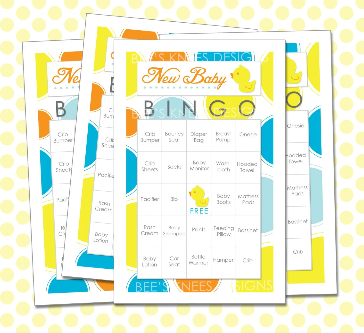 Baby Shower Bingo 30 Printable Cards Game By Beeskneesdesignshop