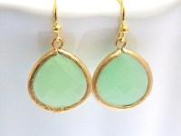 Gold Mint Green Earrings Glass Earrings Light Green