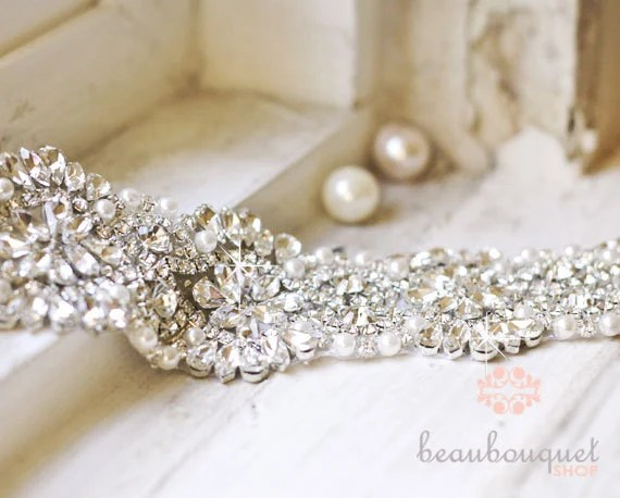 Items Similar To Bridal Sash Rhinestone Bridal Beaded