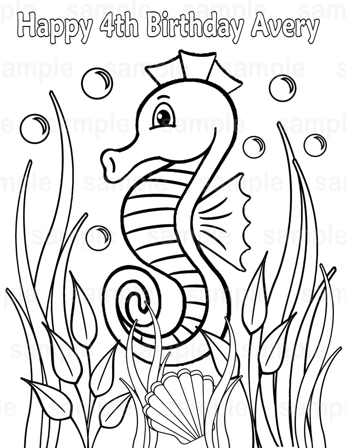 Personalized Printable Sea horse Under the sea Seahorse