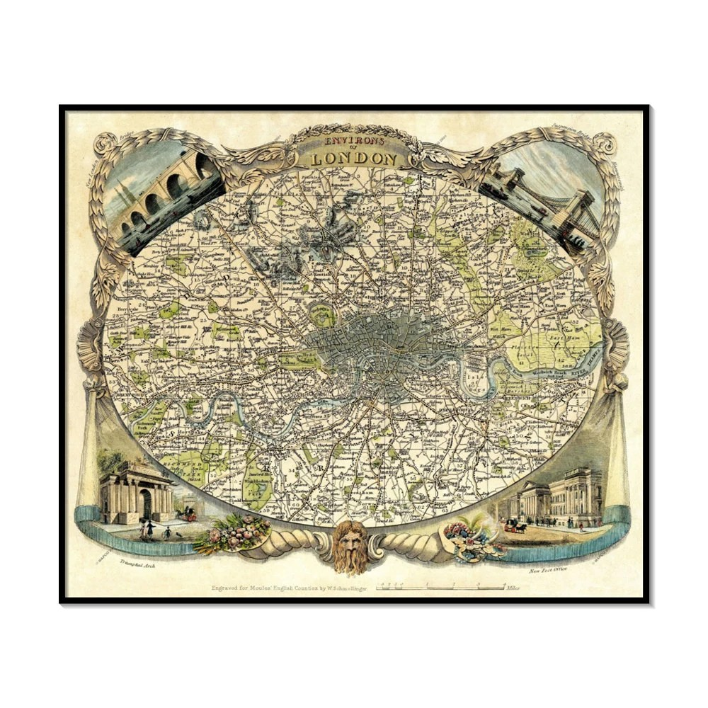 "Vintage wall map of London ""Environs Of London"" by Thomas Moule Archival Fine Art print - OuttakePrints"