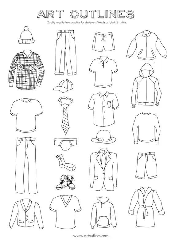 Set of Men's Clothing Illustrations 23 Original Hand