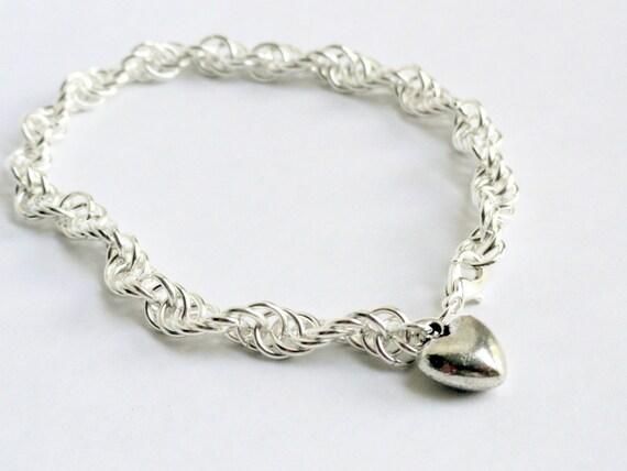 Chainmaille bracelet custom bracelet heart bracelet