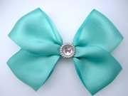 tiffany blue hair bow with sparkle