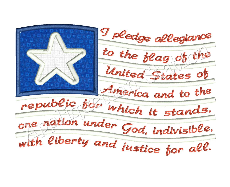 Pledge Of Allegiance Flag Applique Machine Embroidery Design