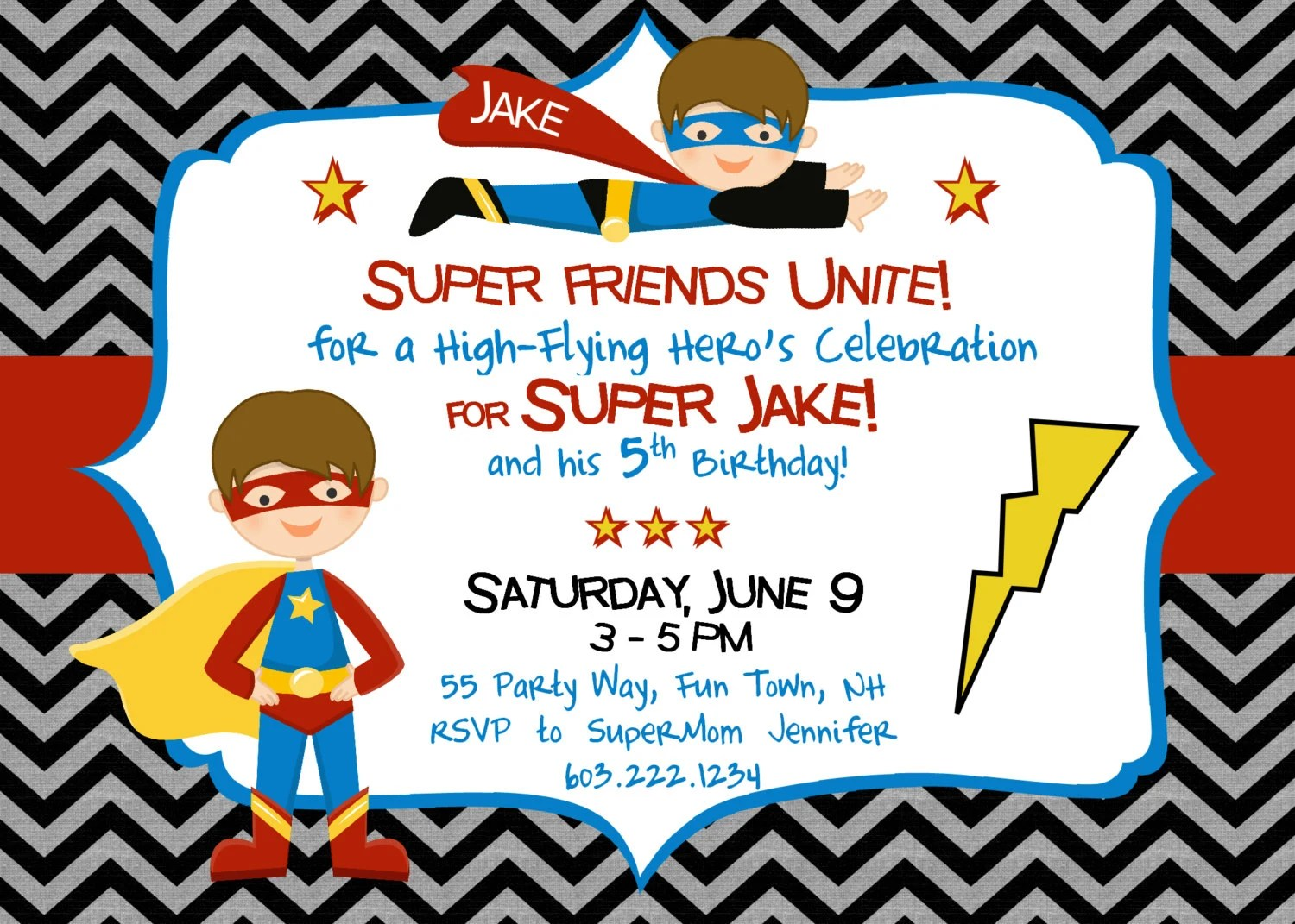 Items Similar To Superhero Birthday Invitation Superhero