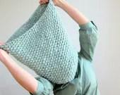 Hand Knitted Oversized chunky scarf / snood. 100% Wool. Super soft Norwegian New Wool. Mint - OkBee