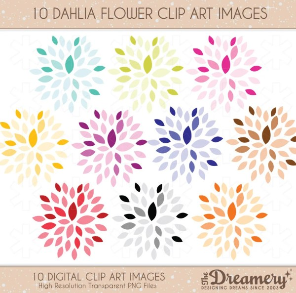 Items similar to 10 Dahlia Flower Clip Art Images