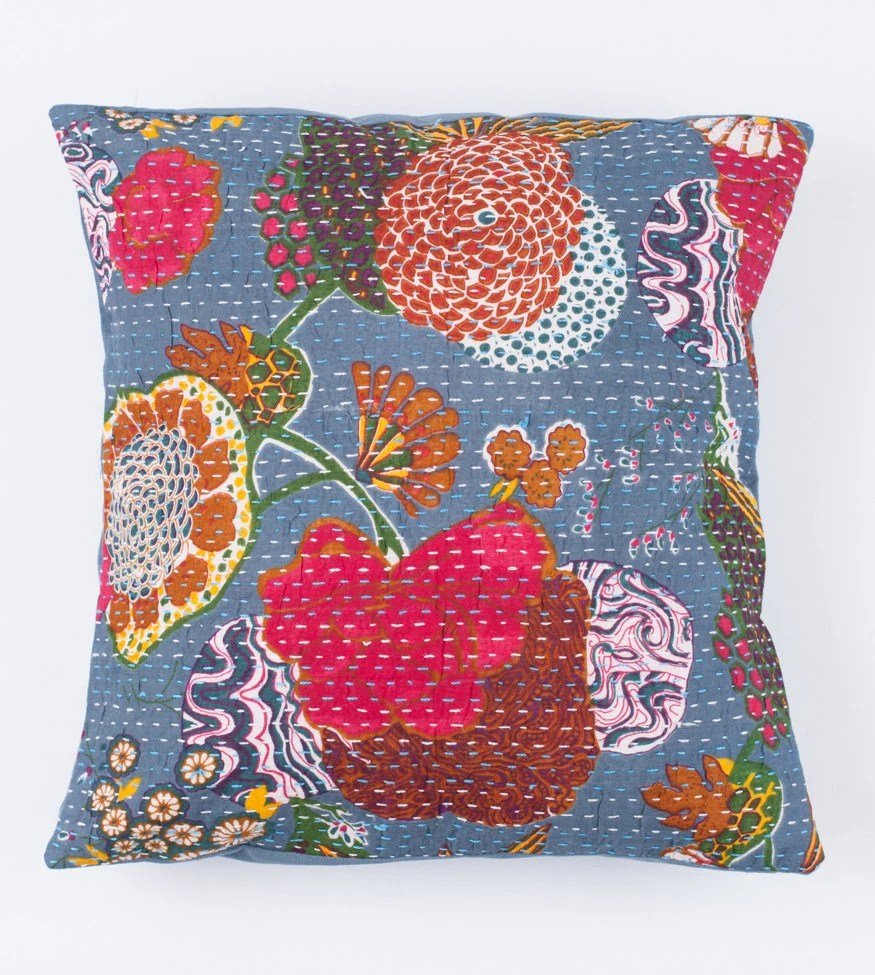 26x26 Pillow Cover Blueish Grey Floral Pattern by gypsya on Etsy