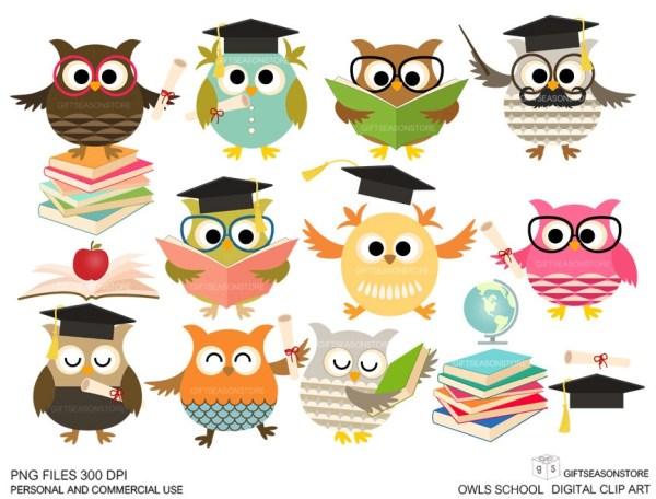 school owls digital clip art