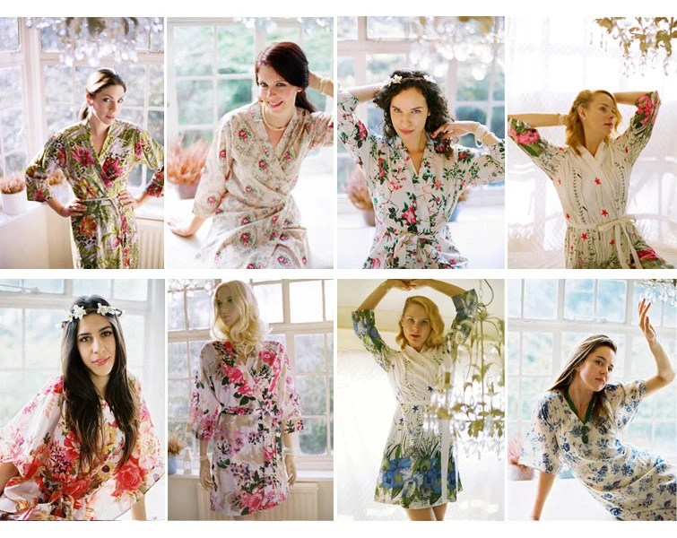 7 Custom Lined Bridal Party Robes Or Dressing Gowns