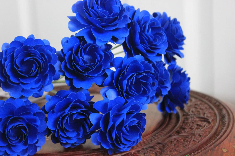 Cobalt Blue Paper Flowers - Pantone's TOP color for Spring 2014- Made to Order-Wedding - Bridal/Baby Shower/Birthday - Set of 12 - BloomingBridges