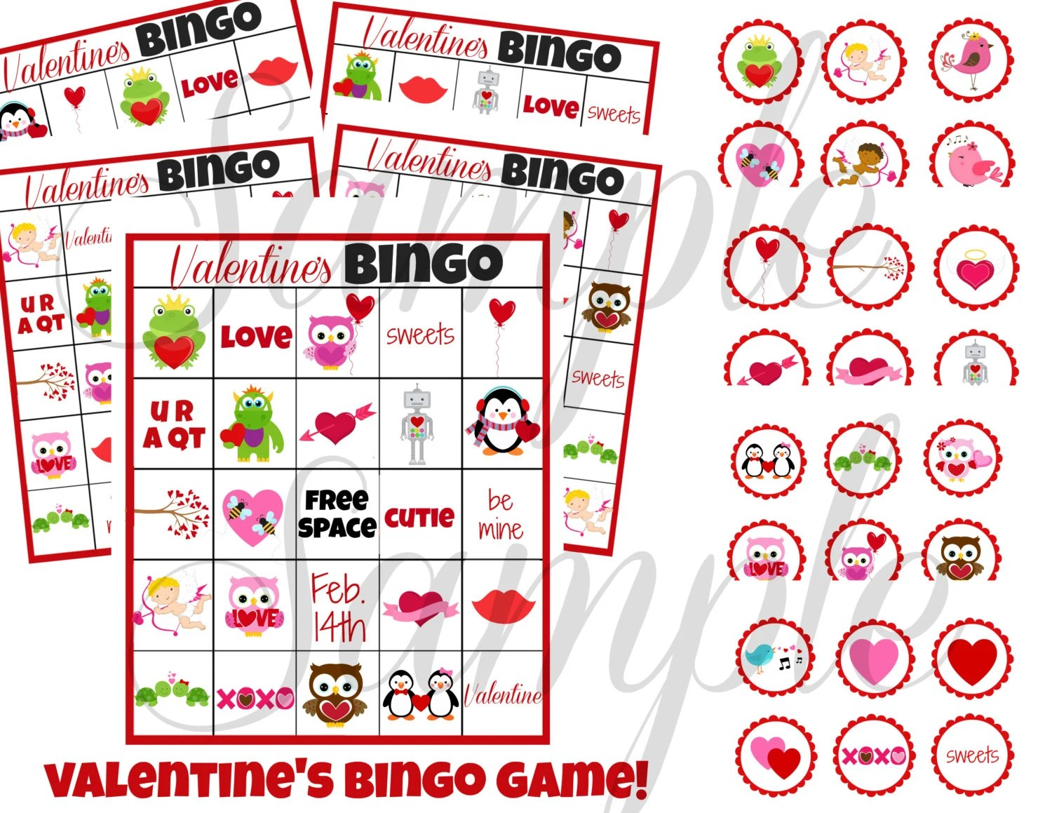 Instant Download Valentines Day Bingo 3 In 1 Games Printable