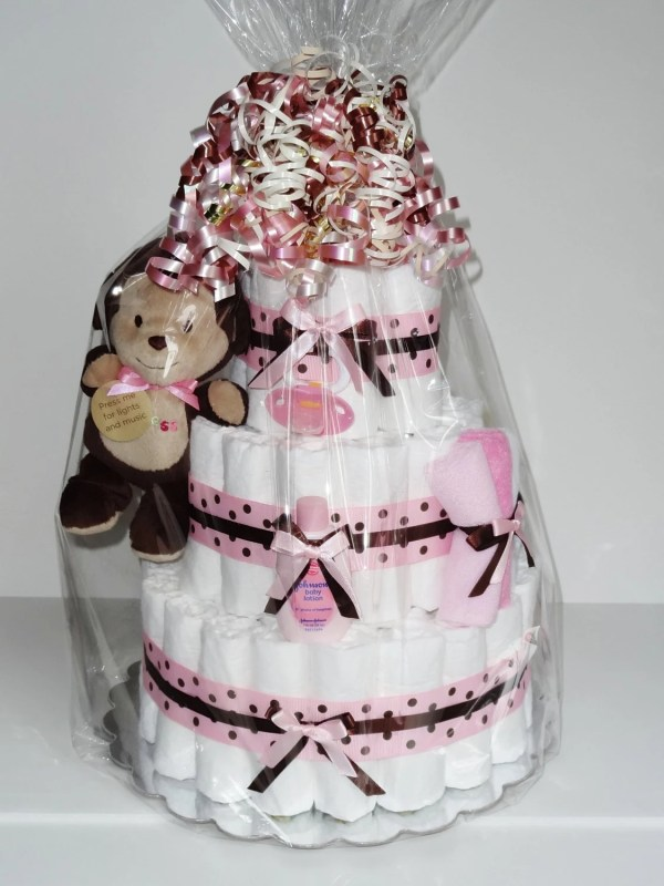 Pink And Brown Monkey Diaper Cake Baby Shower Centerpiece