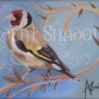 Goldfinch canvas, british birds, original acrylic painting by Ardent Shadows