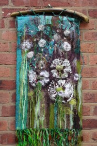 Dandelions. textile wall hanging. Fibre Art. by ...