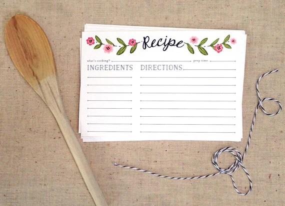 Floral Recipe Cards (4 x 6), pack of 10- Housewarming, Recipe sharing, newlywed, bridal shower, kitchen shower - EmpressStationery