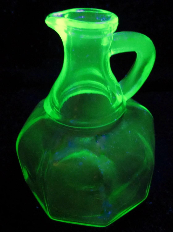 Vintage Hazel Atlas Green Glass Cruet Oil Vinegar Bottle
