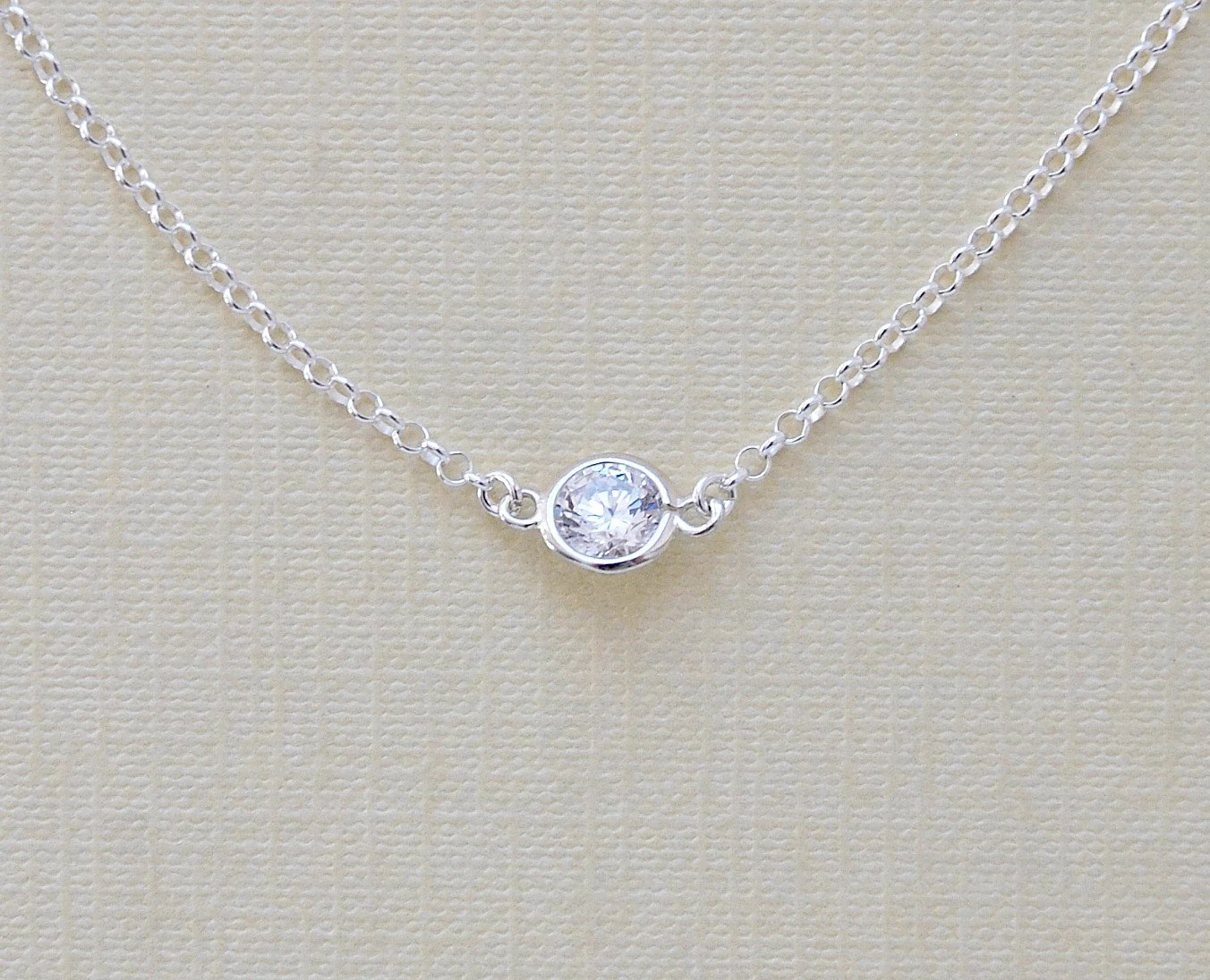 15 Tiny Diamond Solitaire Necklace