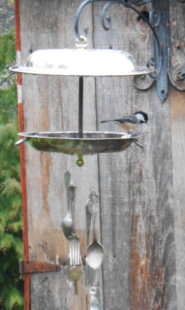 Bird Feeder Wind Chime Silver Plate Dish And Silverware