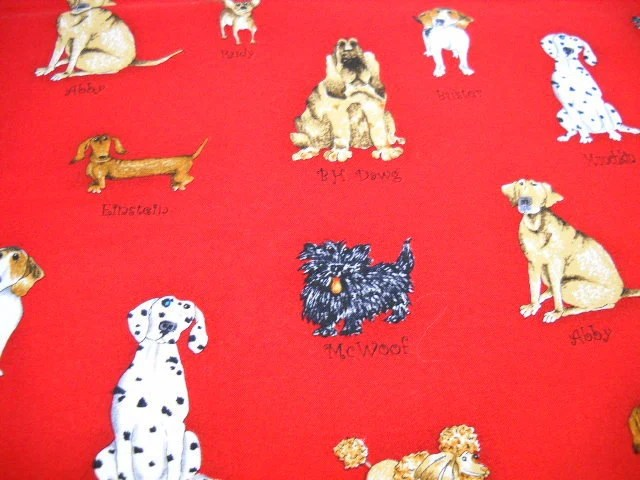 Red Cotton Fabric, Robert Kaufman Design, Quilting Supplies, Catberry Tails, Yardage with Dogs - StitchKnit