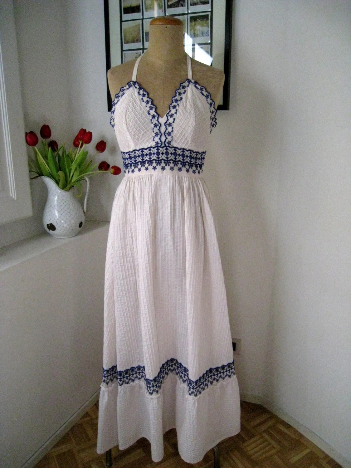 MEXICAN EMBROIDERED Halter Dress Georgia Charuhas White and