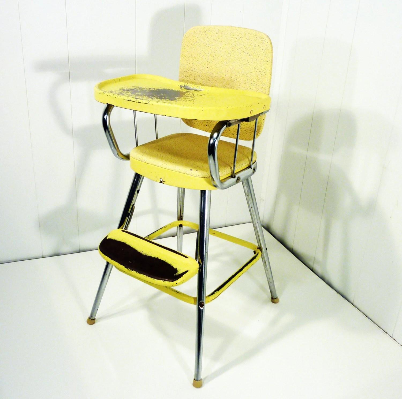 retro high chairs babies geriatric chair for elderly samsonite 50s vintage yellow original label