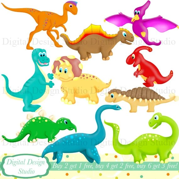 cute dinosaurs clip art set