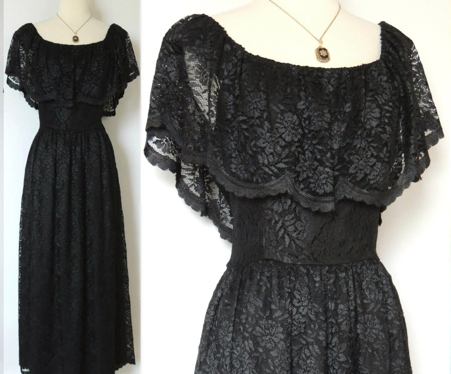 SALE TODAY ONLY Vintage 70s Lace Dress Mexican Style With Lace