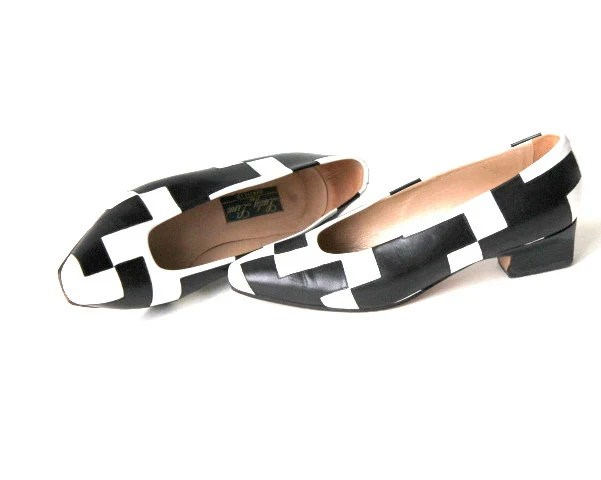 black and white patchwork shoes- real leather vintage- 80s- retro- modern design shoes- size 37 1/2- Sweetlakevintage - Sweetlakevintage