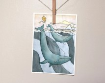 Blue Whales Flying Kites - Blue Whale Art - Giclee Print - Whale Watercolor - 5x7 - Small Art Print
