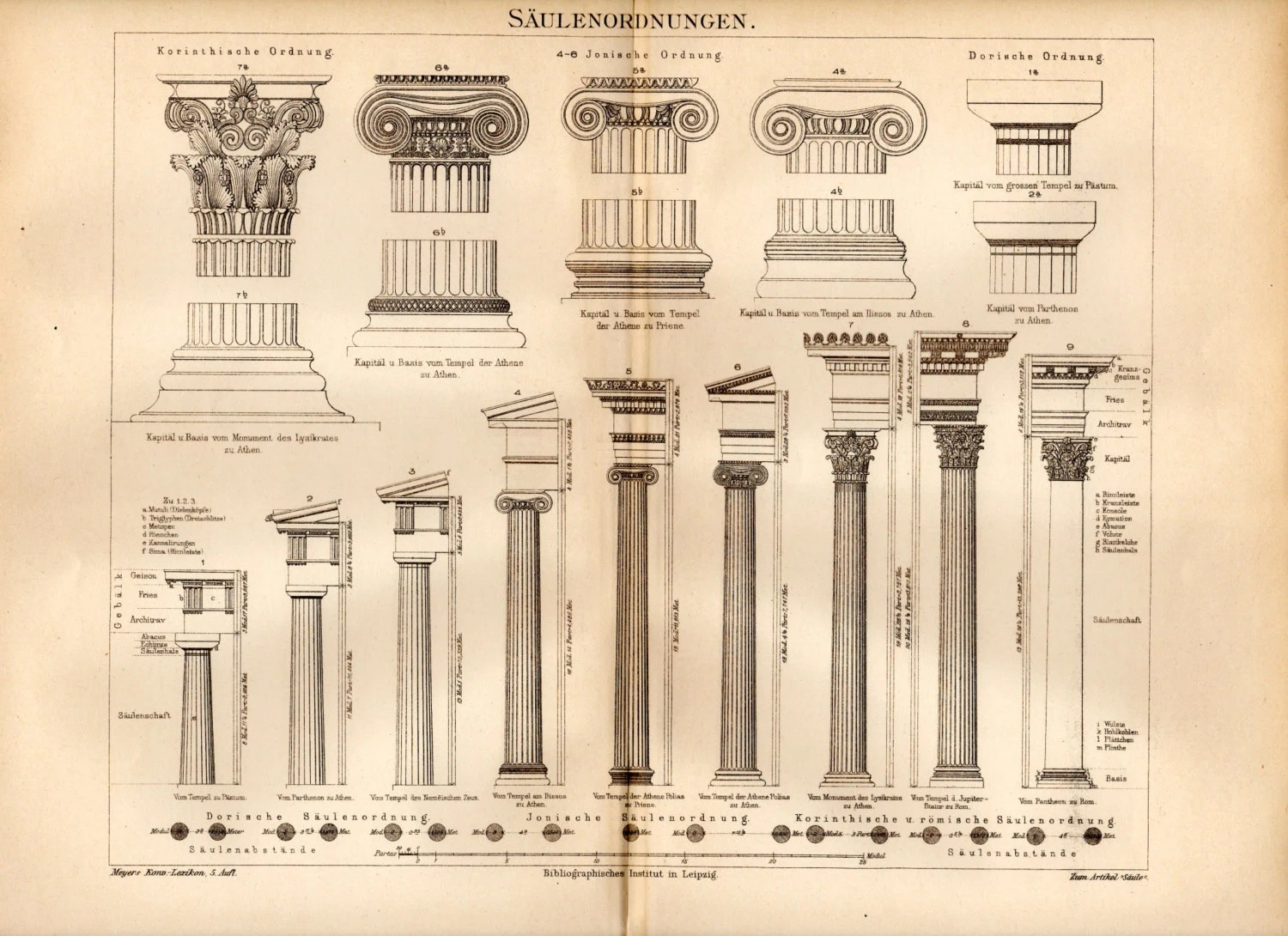 Classical Order Columns Print Doric Ionic By Craftissimo